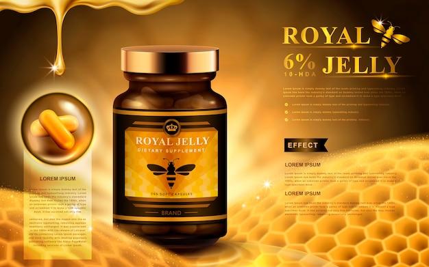 Koninginnengelei-advertentie met capsules, honingraat en vallende vloeistof, gouden achtergrond