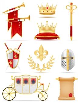 Konings koninklijke gouden attributen van middeleeuwse machts vectorillustratie