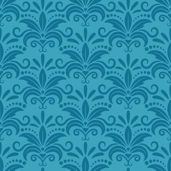 Koninklijk behang met damast naadloos bloemenpatroon. decentextiel, textuur donkerturkoois, decoratief zijdeontwerp.