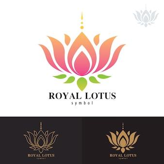 Koninklijk lotus symbool pictogram ontwerp