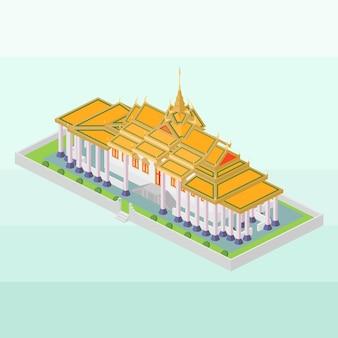 Koninklijk paleis van cambodja in isometrisch