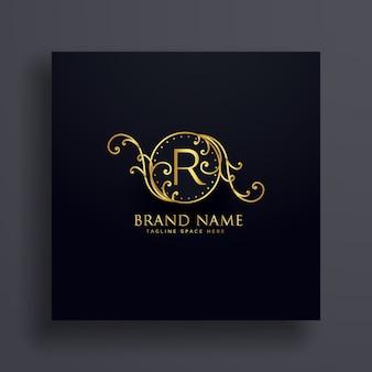 Koninklijke brief r premium logo concept ontwerp