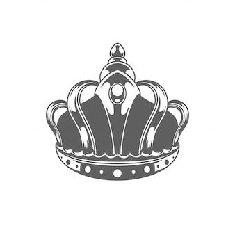 Koninklijke de kroonilhouette van de koning die op witte achtergrond wordt geïsoleerd.
