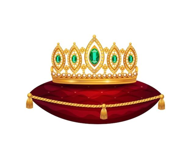 Koninklijke gouden kroonsamenstelling met geïsoleerd beeld van kroon op rood fluwelen kussen