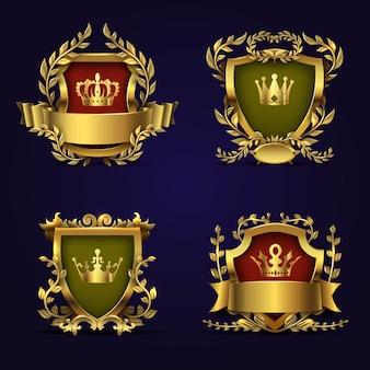 Koninklijke heraldische emblemen in victoriaanse stijl met gouden kroon, schild en lauwerkrans.