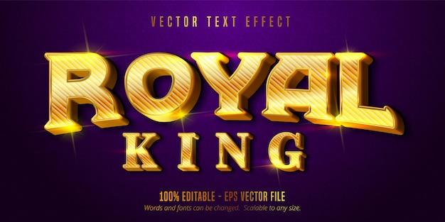 Koninklijke koningstekst, glanzend goudstijl bewerkbaar teksteffect