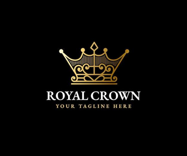 Koninklijke kroon koning koningin logo sjabloon majestueuze kroon en luxe tiara silhouet voor vip-merken Premium Vector