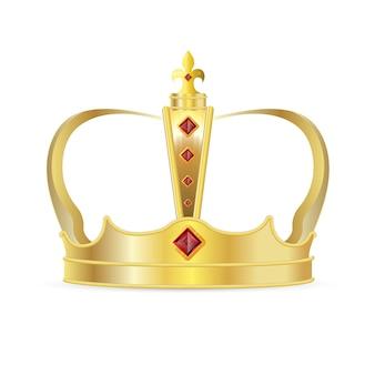Koninklijke kroon. realistische koninklijke gouden kroon met rode robijnrode edelstenen pictogram. koning of koningin kroon, middeleeuwse autoriteitssymbool decoratie