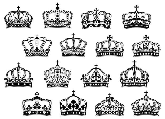 Koninklijke of keizerlijke kronen bezet met edelstenen en decoraties voor heraldiek of middeleeuws ontwerp