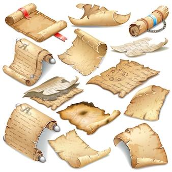 Koninklijke oude perkamenten set