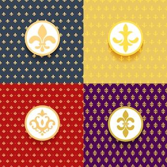 Koninklijke patronen ingesteld. element decor victoriaans, sierlijke luxe