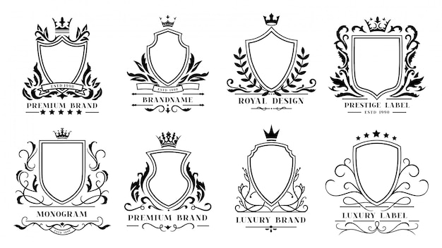 Koninklijke schilden badges. vintage sierlijsten, heraldische randen met decoratieve koninklijke krul en luxe filigraan bruiloft emblemen iconen set