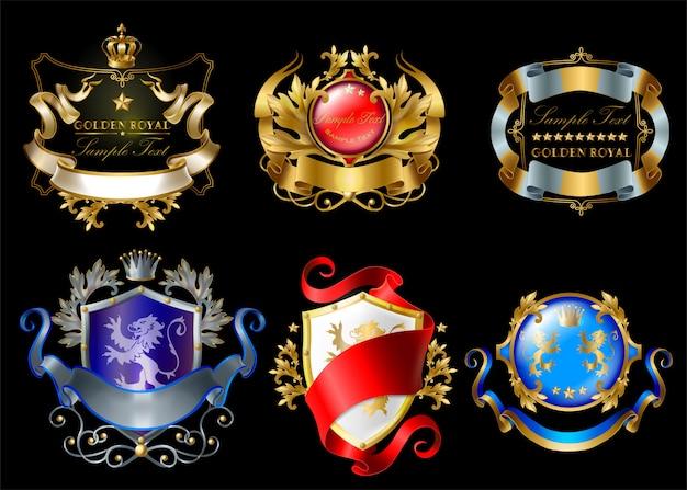 Koninklijke stickers met kronen, schilden, linten, leeuwen, sterren geïsoleerd op zwarte achtergrond