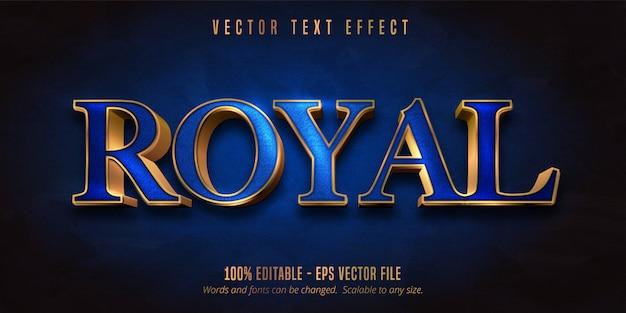 Koninklijke tekst, blauwe kleur en glanzend gouden stijl bewerkbaar teksteffect