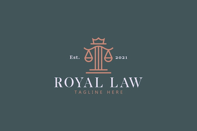 Koninklijke wet en rechtvaardigheid concept logo