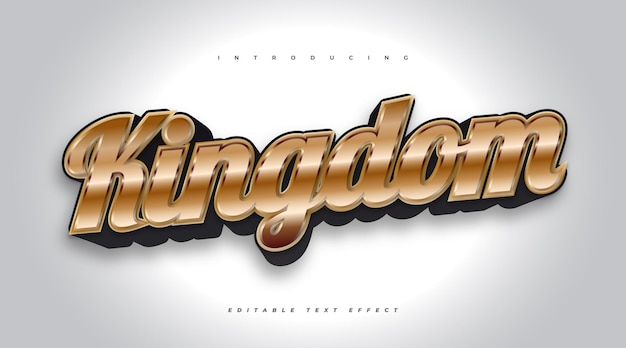 Koninkrijk bewerkbaar teksteffect in zwart en goud