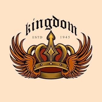 Koninkrijk elegante gouden kroon en vleugel illustraties