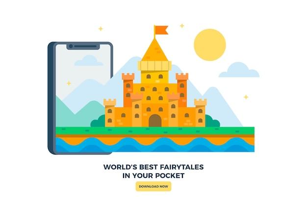 Koninkrijkskasteel geïllustreerd met smartphone