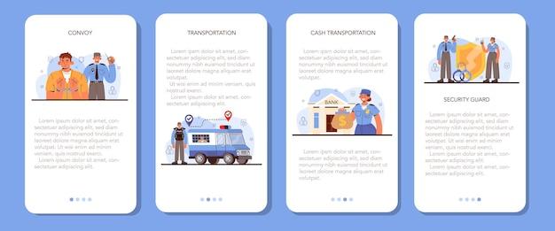 Konvooi mobiele applicatie banner set. vervoer van een crimineel