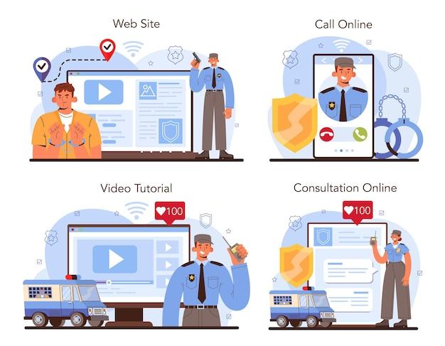 Konvooi online service of platform set. vervoer van een crimineel
