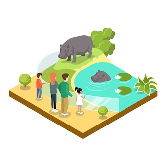 Kooi met isometrische 3d pictogram van hypopotamuses