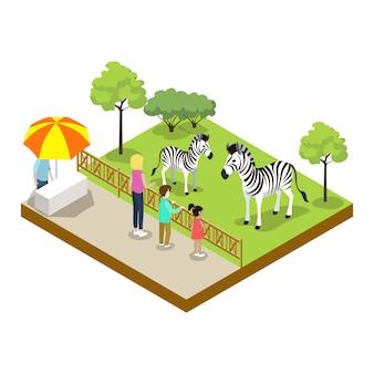 Kooi met zebra isometrische 3d-pictogram