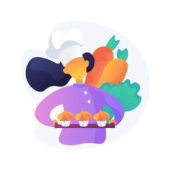 Kook in hoed met heerlijke desserts. traditionele wortelcupcakes, groentemuffins, heerlijke bakkerijproducten. chef stripfiguur.