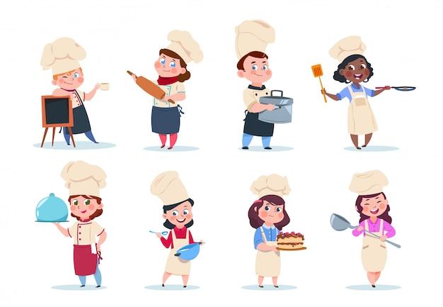 Kook kinderen. cartoon chief kinderen voorbereiding maaltijd. kookcursus vector set
