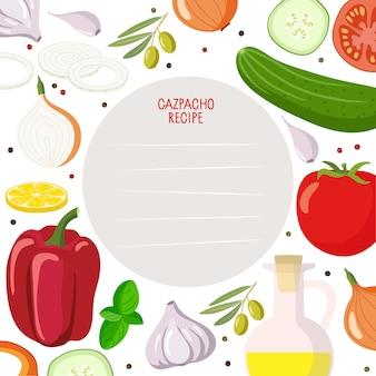 Kookboekpaginasjabloon receptkaart met gaspacho product kit en lines vector template