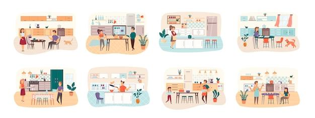 Kookbundel van scènes met de situatie van platte personen