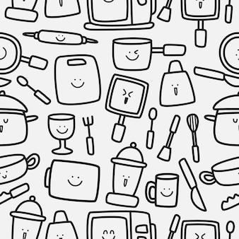 Kookgerei cartoon doodle patroon ontwerp