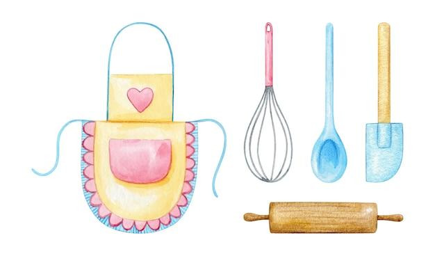 Kookgerei en keukenbenodigdheden in pastelroze en blauw geschilderd in aquarel