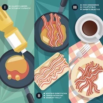 Kookinstructie voor het bakken van spek. pan en olie, koffiekopje, vlees en ontbijt.