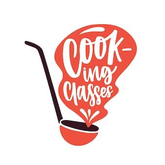 Kooklessen platte vector logo. voedselbereiding, culinaire cursussen logo geïsoleerd op een witte achtergrond. cartoon dipper met handgeschreven belettering sticker. voedingsschool promo label.