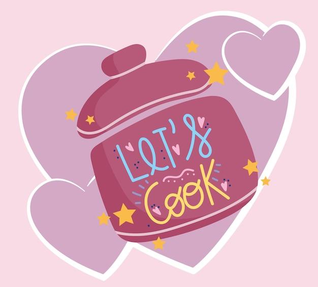 Kookpot en hart liefde cartoon belettering illustratie