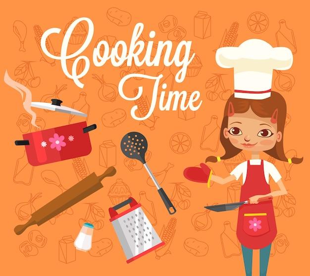Kooktijd. meisje karakter kok.