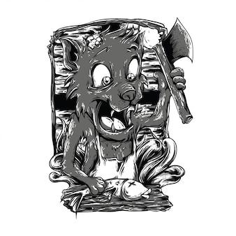 Kooktijd zwart en wit illustratie