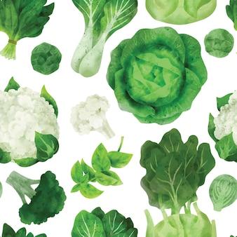 Kool en groene groenten naadloos patroon met de hand getekend
