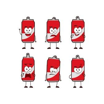 Koolzuurhoudende cola frisdranken karakter cartoon mascotte expressie pose in leuke grappige stijl instellen
