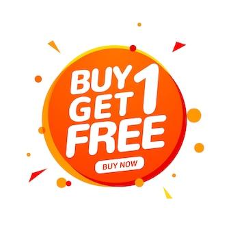 Koop 1 krijg 1 gratis verkooplabel. bannerontwerpsjabloon voor marketing. speciale aanbieding promotie of retail.