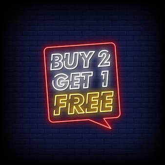 Koop 2 krijg 1 gratis neonreclame stijltekst