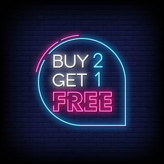 Koop 2 krijg 1 gratis neonreclamestijl