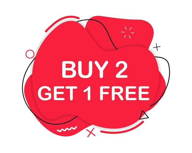 Koop 2 krijg 1 gratis promotie banner met speciale aanbieding