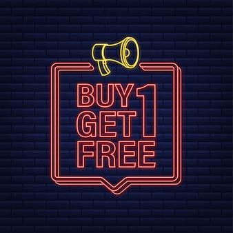Koop 2 krijg 1 gratis, verkooptag, bannerontwerpsjabloon. neon icoon. vector voorraad illustratie.