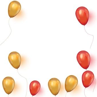 Koop banner met roze en gouden zwevende ballonnen.