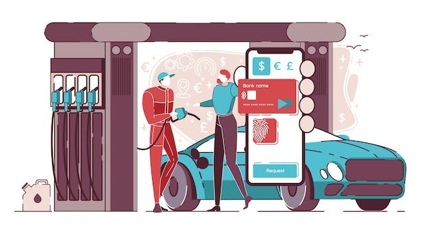 Koop brandstof met creditcard op mobiele telefoon.