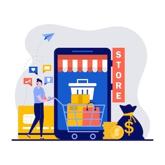 Koop dingen in online winkel, verkoopconcept met een klein karakter.