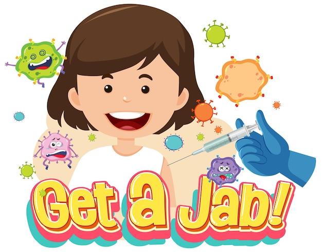 Koop een jab-lettertype met een meisje dat een vaccin krijgt
