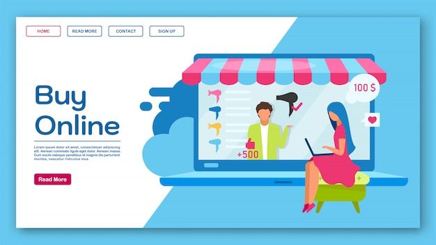 Koop een online bestemmingspagina-sjabloon. e-commerce, eshopping website-interface idee met platte illustraties. indeling van marketplace-homepage. winkelen webbanner, webpagina cartoon concept