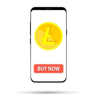 Koop een valuta-munt afgebeeld op het telefoonscherm op wit